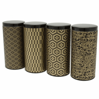 Black and Gold Multi Pattern Tea Canisters, Set of Four,  Holds 200 Grams