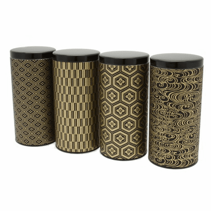 Black and Gold Multi Pattern Tea <br> Canisters, Set of Four,  <br>Holds 200 Grams