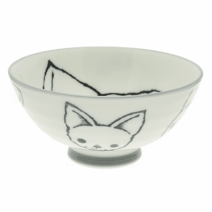 Black and White Chihuahua <br>Face Rice Bowl