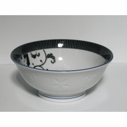 Black and White Chrysanthemum<br> and Crane Bowl 8-1/4""