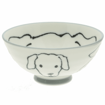 Black and White Labrador Face Rice Bowl