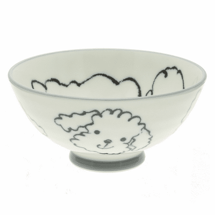 Black and White Poodle Face Rice Bowl