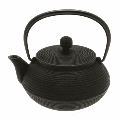 Black Concentric Rings Cast Iron <br>Tea Pot, 20 oz.
