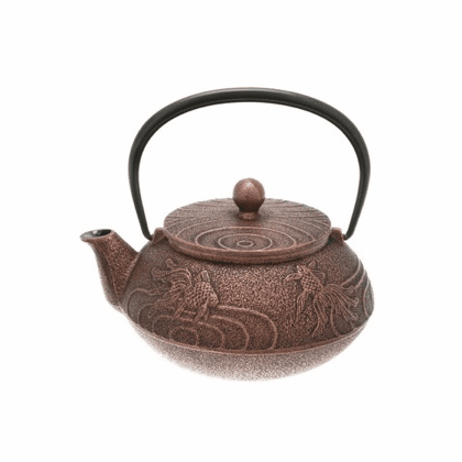 Black/Copper Goldfish Cast Iron Tea Pot by Iwachu, 20 oz.