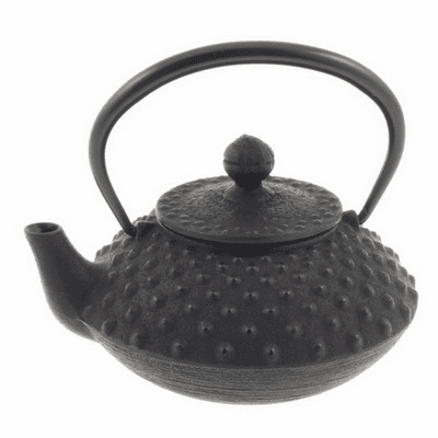 Black Flat Hailstone Cast Iron <br>Teapot  Made by Iwachu 12 oz.