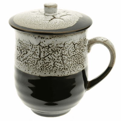 Black Frost Ceramic Mug with Lid, 12 oz.