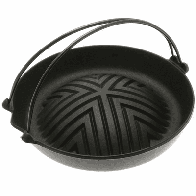 Black Genghis Khan Cast Iron Grill Pan by Iwachu