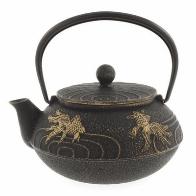 Black/Gold Goldfish Cast Iron <br>Tea Pot by Iwachu, 20 oz.