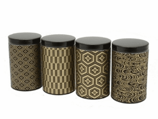 Black & Gold Multi Pattern Tea Canisters, Set of Four, Holds 100 Grams