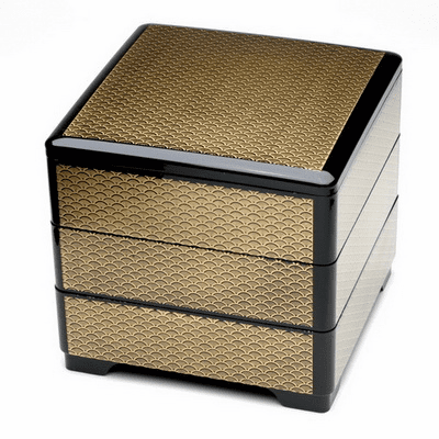 Black & Gold Waves  Lacquerware Stack/Jubako Box