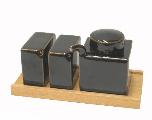 Black Hakusan Porcelain Condiment Set, Design by Mori