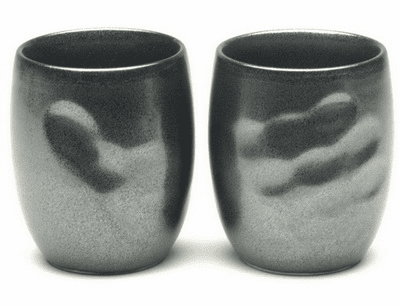 Black Hand Print Tea Cup 10 oz.