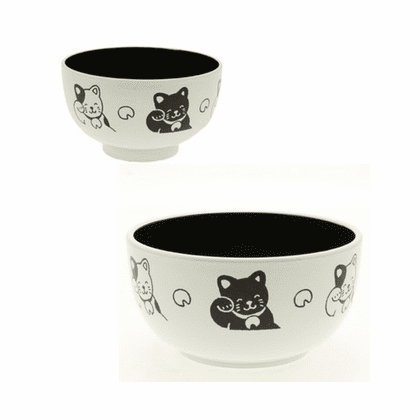 "Black Happy Cat Soup Bowls, 4"" or 5"""