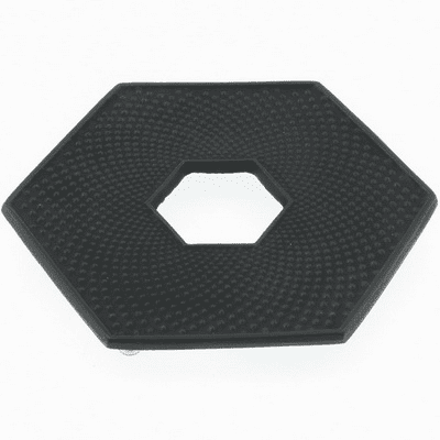 Black Hexagonal Hobnail Cast Iron<br> Trivet, Made by Iwachu 5-1/2""