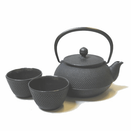 Black Hobnail  Cast Iron Tea Pot  20 oz. with Two Matching  Cups 4 oz.