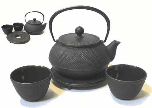Black Hobnail Cast Iron Teapot 20 oz. Set Made by Iwachu