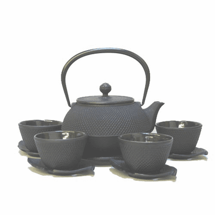 Black Hobnail Cast Iron Teapot <br>28  oz. Set for Four