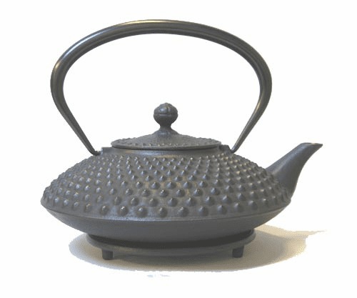 Black Hobnail Cast Iron Teapot 36 oz. and Trivet Set by Iwachu