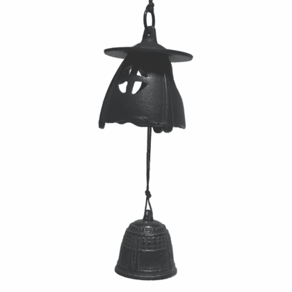 Black Moon Lantern & Bell Cast Iron  <br>Windchime