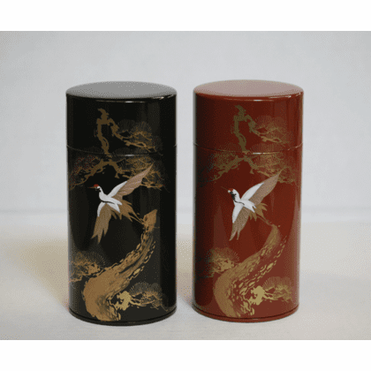 Black or Red CraneTea Canisters,  <br>200 Grams
