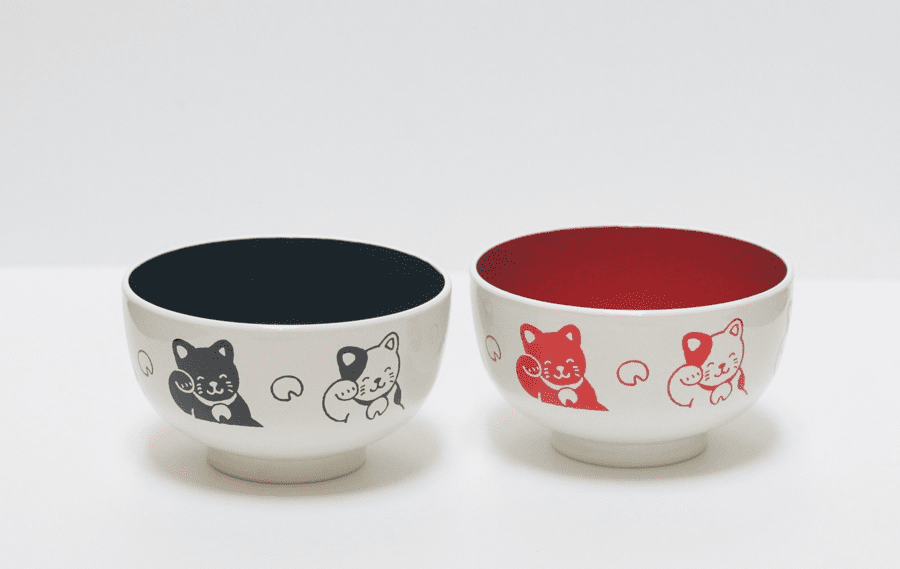 Black or Red Happy Cat Soup Bowl