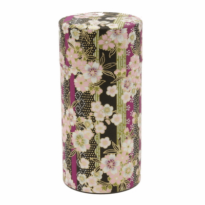 Black & Purple Sakura Tea Canister,  <br>200 Grams