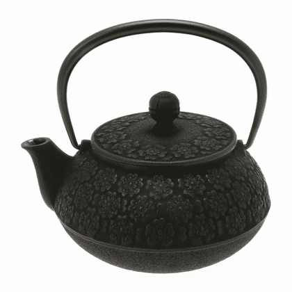 Black Sakura Cherry Blossom Cast Iron Teapot, 20 oz.