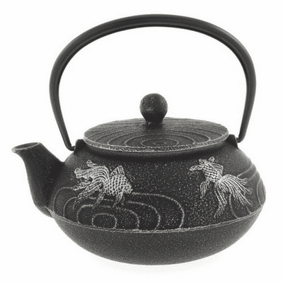 Black/Silver Goldfish Cast Iron Tea Pot by Iwachu, 20 oz.