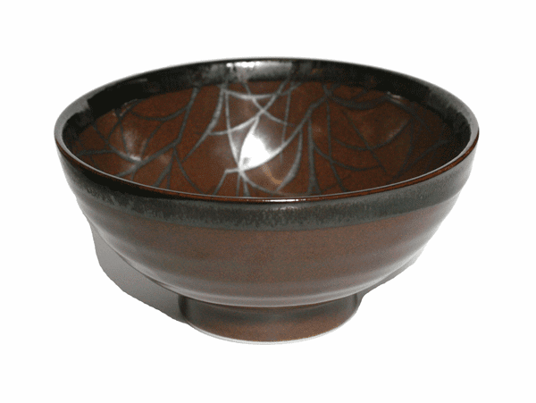 Black Vein Brown Bowl 7-3/4""