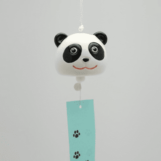 Black & White Ceramic Panda Face Wind Chime