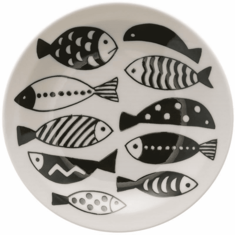 Black & White Fish School Ceramic Plate 6-1/2""
