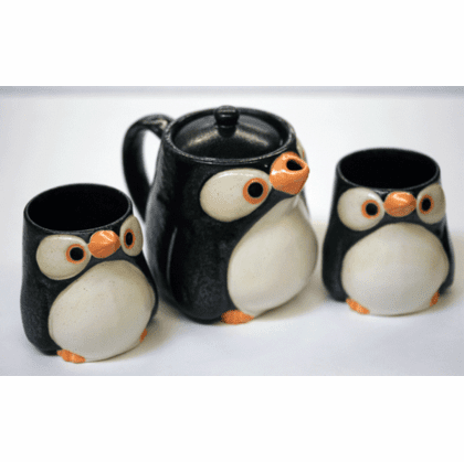 Black & White Penguin Tea Set