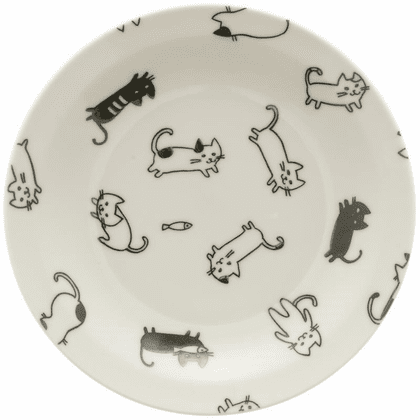 Black & White Playful Cats Ceramic <br>Plate 6-1/2""
