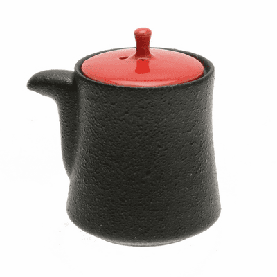 Black with Red Lid Karatsu Ceramic <br>Sauce Dispenser, 5.5 oz.