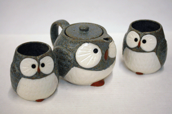 Blue and White Owl/Fukuro Tea Set