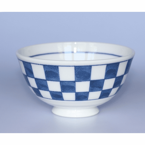 Blue and White Square Pattern Noodle Bowl