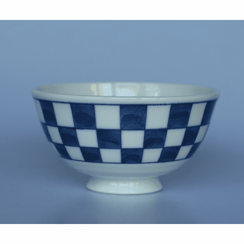 Blue and White Square Pattern Rice Bowl