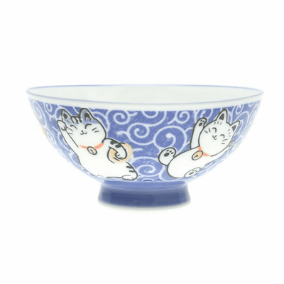 "Blue Arabesque Cat Ceramic Bowl, 4-7/8"" or 5-1/2"""