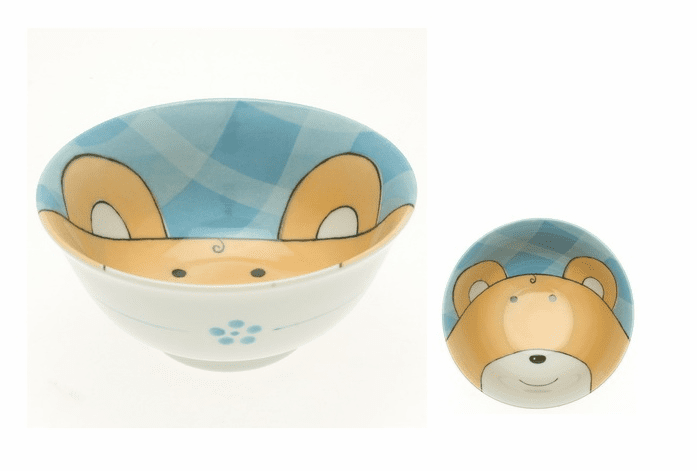 Blue Gingham Bear Bowl 6""