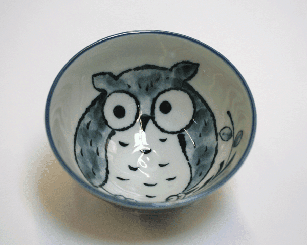 Blue Good Luck Owl Rice Bowl