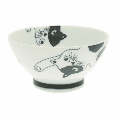 Blue Lounging Calico Cat Ceramic Bowl