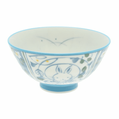 Blue Moon Bunnies Ceramic Rice Bowl