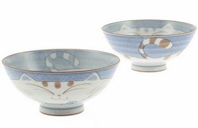 Blue Round Kitty Ceramic Bowl