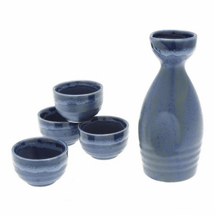 Blue Sake Container & 4 Cups Set