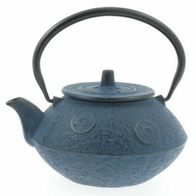 Blue Vintage Japanese Coin <br>Cast Iron Tea Pot 24 oz.