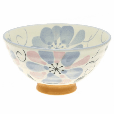 Blue Water Color Flower Ceramic Rice Bowl