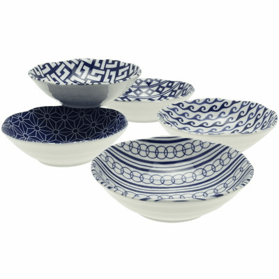 Blue & White Ai Komon Shallow Bowl  <br>Set 6-3/4""