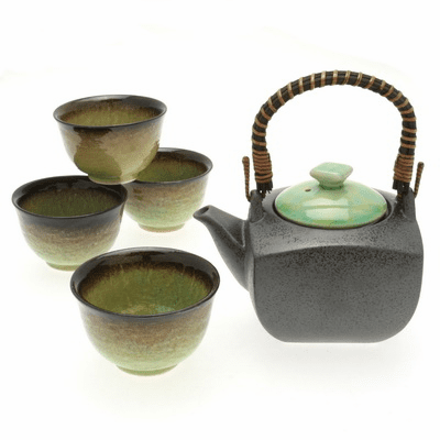 Bronze/Jade Tea Set for Four, 22 oz.