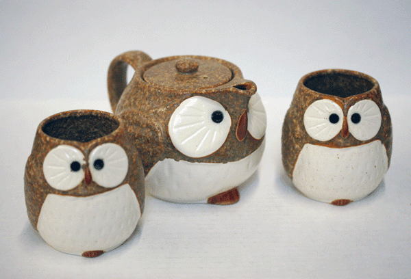 Brown and White Owl/Fukuro Tea Set