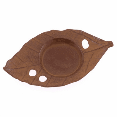 Brown Cast Iron Leaf Coaster